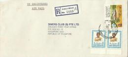 Brunei 1989 Registered Cover From Kuala Belait  To Singapore, Pair 40sen  And $ 1.00 Homeless - Brunei (1984-...)