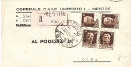 1943 4X30 CENT. SU RACC. DA OSPEDALE CIVILE UMBERTO I MESTRE A CONA - Marcophilie