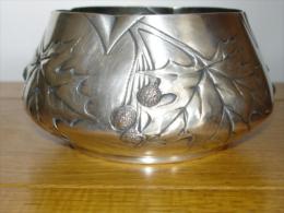 Coupe Art Nouveau Metal Argenté Victor Saglier Decor Platane - Silberzeug
