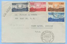 1956 DECENNALE L.10+25+60+80 + SIRACUSANA L.5 CHIUDILETTERA BUSTA 12.11.56 ..LEGGI DESCRIZIONE (3858) - 5. 1944-46 Lieutenance & Humberto II