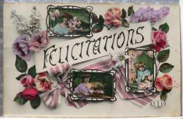 Photo Montage Brillante ELD Fete Felicitations Avec Femme Medaillon Decor Fleurs 1908 Timbre Cachet  Les Ormes S Vienne - Fantaisies