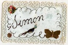 Carte Fantaisie Pourtour Façon Dentelle Prénom SIMON /  Oiseau , Fleurs, Papillon - Firstnames