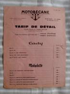"93 PANTIN  MOTOBECANE "" Tarif De Detail 1970 ""  Cady,Mobylette,Velomoteur - Advertising"