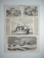 GRAVURE 1860. EXPEDITION DE CHINE. RUE DE LA TRESORERIE A CANTON. TANCADERES DE CANTON. NAUFRAGE NAVIRE L'EUROPE ILOT L - Prints & Engravings