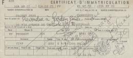CARTE GRISE POUR UNE VOITURE PEUGEOT 204 DE 6 CV DE 1970