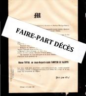Faire-part Décès Mme TUFFIER, Née Jeanne Marguerite Amélie PANNETIER DE VALDOTTE, Collonges-sur-Saone, 1891 - Décès