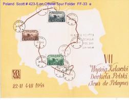 POLAND    Scott # 423-5 On OFFICIAL 1948 RACE FOLDER---RARE - 1944-.... Republic