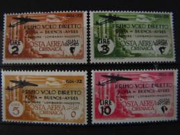 """(B)ITALIA Cirenaica Aerea -1934- """"Roma - Buenos Aires"""" Cpl. 4 Val. MH* (descrizione) - Cirenaica"""
