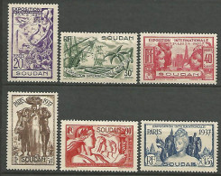 SOUDAN SERIE EXPO 1937 N�  93/98 NEUF* TB