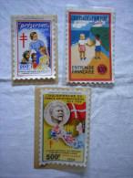Lot De 3 Grands Timbres Antituberculeux Format Carte Postale Pour Le Plus Grand 1955 - Pubblicitari