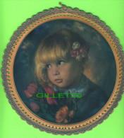 BRODERIE D´IMAGES - 2 IMAGES ENFANTS DÉCORÉES AU CROCHET - 21 Cm DIAMÈTRES - - Vintage Clothes & Linen