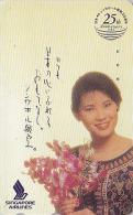 Télécarte Japon / 110-144413 - SINGAPORE AIRLINES & ORCHIDEE ORCHID JAPAN Phonecard Femme Girl - FLUGZEUG - Avion 671 - Flugzeuge