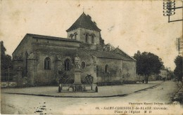 """SAINT CHRISTOLY De BLAYE : """" Place De L'Eglise """" - Monument Aux Morts Guerre 14/18 - V° Pharmacien A DURIOL Vie Locale - Autres Communes"""