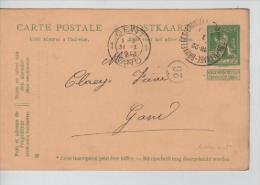 Entier 5c Lion C.Ambulant Charleroy-Manage-Bruxelles En 1913 V.Gand PR1333 - Ambulants