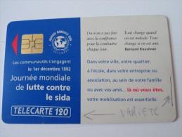 RARE: LA PAIRE DE SIDA JOURNÉE MONDIALE ( TÉLÉCARTE 120 ET TÉLÉCARTE 50)  !! - Frankrijk