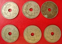Belgique - Lot De 6 Monnaies De 25 Centimes: 1920, 21, 22, 28, 29x2 - 05. 25 Centimes