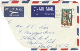AUSTRALIA - 1975 -Airmail - Big Fragment - Aboriginal Art Grave Posts 35c - Viaggiata Per London - 1966-79 Elizabeth II