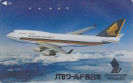 Télécarte Japon - AVION - JTB - SINGAPORE AIRLINES - Plane JAPAN Phonecard - FLUGZEUG Telefonkarte - Aviation 710 - Avions