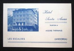 HOTEL RESIDENCIA PENSION HOSTAL SANTA ANDORRA LES ESCALDES SPAIN LUGGAGE LABEL ETIQUETTE AUFKLEBER DECAL STICKER MADRID - Hotel Labels