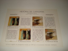 ESPAÑA - HISTORIA DE CATALUNYA - HOJA Nº 4 - PREHISTORIA (EDAT DELS METALLS) ** MNH - Hojas Conmemorativas
