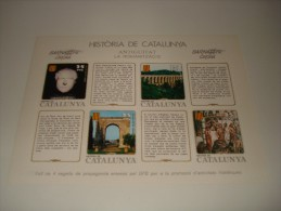 ESPAÑA - HISTORIA DE CATALUNYA - HOJA Nº 7 - ANTIGUITAT (LA ROMANITZACIO) ** MNH - Hojas Conmemorativas