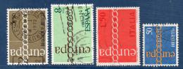 EUROPA--1971--Lot De 4 Timbres Oblitérés (Belgique,Espagne,Italie Et Suisse) - 1971