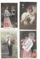 7033- Lot De 100 CPA Fantaisie, Hommes, Femmes, Enfant - 100 - 499 Postcards
