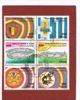 ITALIA  REPUBBLICA - CAT.1932.1937  - 1990  COPPA DEL MONDO DI CALCIO ITALIA 90  - 6 VALORI  DA 800 IN BLOCCO  USATI (°) - 6. 1946-.. Repubblica