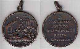 ** ITALIE - ITALIA  MEDAILLE - MEDAGLIA ROMA XI CONGRESSO MEDICO INTERNAZIONALE 1894 - AESCULAPIUS ** ACHAT IMMEDIAT !!! - Professionnels/De Société