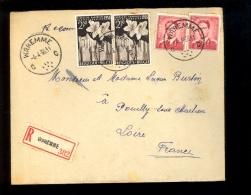 BELGIQUE BELGIE Lettre Recommandée Waremme Pour Pouilly S/ Charlieu Loire France 1955 Floralies Gantoises 2F50 X2 + 2Fx2 - Belgio