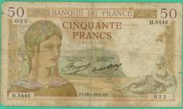 France -  50 Francs - Cérès - N° H.5446 / 022 - BX 28.1.1937.BX - B+ - 1871-1952 Circulated During XXth