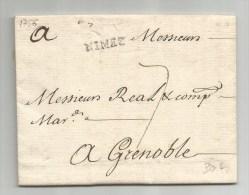 1756 - LETTRE De NISMES / NIMES (GARD) Pour GRENOBLE - 1701-1800: Precursors XVIII