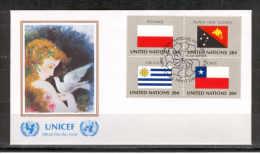 UN USA K73 FDC 1984 4v Flag Poland Papua New Guinea Uruguay Chile - Non Classés