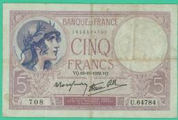 France -  5 Francs -  Violet - N° U.64784 / 708 - VQ.19-10-1939.VQ - TB+ - 1871-1952 Anciens Francs Circulés Au XXème