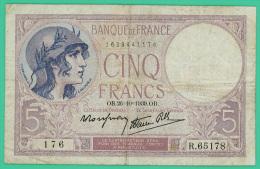 France -  5 Francs -  Violet - N° R.65178 / 176 - OB.26-10-1939.OB  - TB+ - 1871-1952 Circulated During XXth