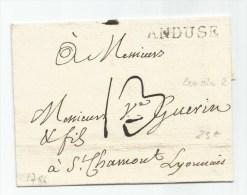 1786 - LETTRE D' ANDUSE / ANDUZE (GARD) Avec MARQUE LENAIN 2 & TAXE De 13 - 1701-1800: Precursors XVIII