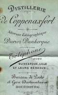 RARE ENTETE DISTILLERIE FRANCOIS DURIEZ COPPENAXFORT BOURBOURG (Nord) 1895 B.E. V.SCANS+ HSITORIQUE - 1800 – 1899
