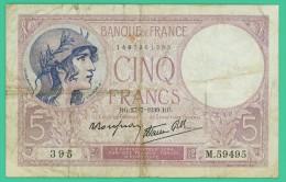 France -  5 Francs -  Violet - N° M.59495 / 395 - RG.27-7-1939.RGB  - TB - 1871-1952 Circulated During XXth