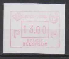 """Belgique N° ATM72 *** 13.00 F """"BCH 1913-1918"""" - 1988 - Postage Labels"""