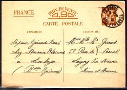 CP  Entier Cartes De Corresp  Entre ZONES LIBRE Et OCCUPEE  Lembeye Basses Pyre  A Lagny S Marne Le 6 Mai 1941 - Entiers Postaux