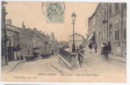 CPA 55 - SAINT MIHIEL - Rue Carnot Et Rue Du Gral Blaise (commerces, Attelages...) - Saint Mihiel