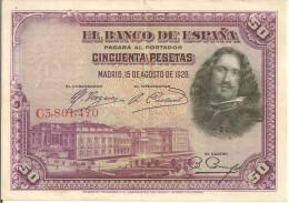 BILLETS - ESPAGNE - 50 PESETAS - 1928 - N°C3 ,861,470 - [ 1] …-1931 : Premiers Billets (Banco De España)