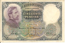 BILLETS - ESPAGNE - 50 PESETAS - 1931 - N°7,440,592 - 50 Pesetas