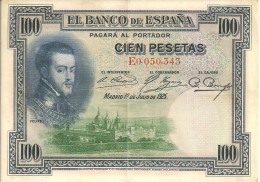 BILLETS - ESPAGNE - 100 PESETAS - 1925 - N°E0,050,343 - [ 1] …-1931 : First Banknotes (Banco De España)