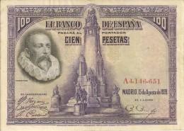BILLETS - ESPAGNE - 100 PESETAS - 1928 - N°A4,146,651 - [ 1] …-1931 : First Banknotes (Banco De España)