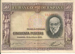 BILLETS - ESPAGNE -50 PESETAS - 1935 - N°7553857 - 50 Pesetas