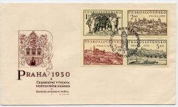 CZECHOSLOVAKIA 1950 Prague Philatelic Exhibition I Block Of 4 On  Unaddressed FDC.  Michel 630-33 - FDC