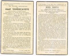 IZEGEM - ROUBAIX  , 2 Doodsprentjes  Van SAMYN Rosa (+1935) En VANDECAVEYE Adolf (+1938 - Religion & Esotericism