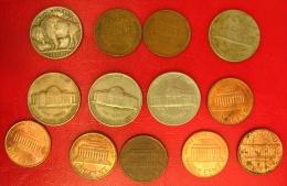 Etats Unis - Lot De 13 Pièces Diverses - 1 Cent, 5 Cents - Années De 1928 à 1999 - S. Sammlungen