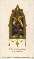 IMAGE PIEUSE RELIGIEUSE HOLY CARD SANTINI CHROMO CHOCOLATERIE AIGUEBELLE Saint Benoit Saint Scolastique Priez Pour Nous - Images Religieuses
